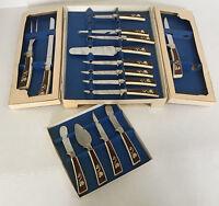 vintage sheffield English blades  golden prestige cutlery set treasure chest set