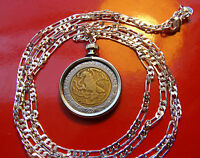 """Mexican Classic Coin Pendant on a 30"""" .925 Sterling Silver Chain Necklace."""
