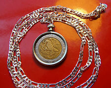 "Mexican Classic Coin Pendant on a 30"" .925 Sterling Silver Chain Necklace2"