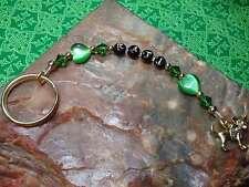 Dainty Personalized CHIHUAHUA Key Ring GREEN Hearts w/Swarovski Crystal