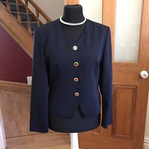 Navy Blue Short Vintage 80s Bianca Wool Jacket Size 40 Fit 12 14 New Romantics