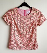 ALMOST FAMOUS LONDON PINK / GOLD BLOUSE / TOP SIZE 6 MAY FIT A 8 NWOT