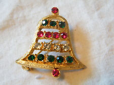 Stunning Christmas Brooch Pin Gold Tone Bell Signed Bj Rhinestones Wow
