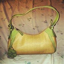 FOSSIL Shoulder Bag, Golden Woven Straw Look W/Eyecatching Green Flower Fob/Trim