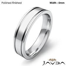 Wedding Band Flat Fit Solid Ring Women Plain 5mm 18k White Gold 7.4gm Sz 7-7.75