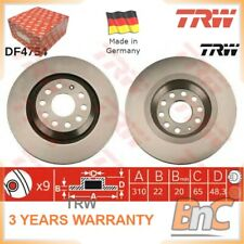 2x REAR BRAKE DISC SET AUDI VW SKODA SEAT TRW OEM 1K0615601N DF4754 HEAVY DUTY