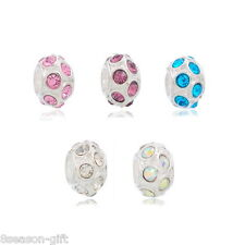 10 Mixed Silver Plated Rhinestone Spacer Beads. Fits Charm Bracelet 11x6mm