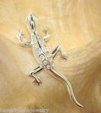 12mm Solid 925 STER Silver Motion Moving Hawaiian House Gecko Lizard CZ Pendant