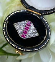 Art Deco Ruby and Diamond 18ct Yellow Gold Ring 0.45ct + 0.50ct