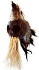 """2.5"""" Coconut Brown Natural Feathers Ikaika Hawaiian Warrior Helmet Car Decor"""