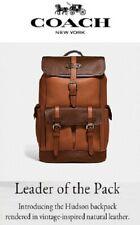 NWT COACH F49543 Men's HUDSON Backpack DK BROWN MULTI NATL Pebbled Leather $698