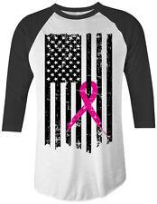 Pink Ribbon Breast Cancer Awareness Flag Unisex Raglan T-Shirt