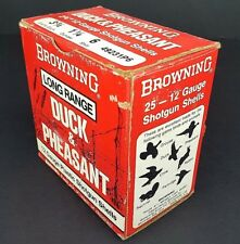 Vtg Browning Long Range Duck & Pheasant 12 Gauge Shotgun Shells Paper Box Empty