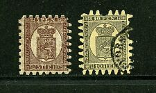 Finland #12 & #13 (Fi710) Coat of Arms, missing teeth, Used, Fvf, Cv$450.00