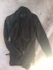 NORDSTROM Faux Leather Black Moto Jacket Knit Collar by BNCI Blanc Noir sz S