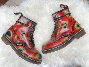 Vintage 90s Y2K Dr. Martens Thermal Rub Off Combat Punk Grunge Boots Size UK 8