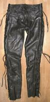 """ Louis "" Men's Lace-Up Leather Jeans / Biker Trousers Black Approx. W30 "" / L33"