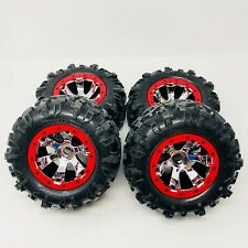 Traxxas Summit Front & Rear Red & Chrome Geode Wheels - Canyon 3.8 Tyre x4 New