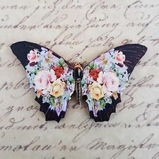KiTsCh BLACK VIOLET PINK BUTTERFLY ROSES FLOWER WOODEN BROOCH BADGE PIN 63mm