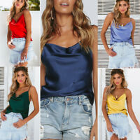 Women Silk Satin Camisole Cami Plain Strappy Vest Tank Tops Sleeveless Blouse