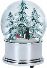 More details for christmas musical snow globe water ball silver base cat trees toadstools feeder