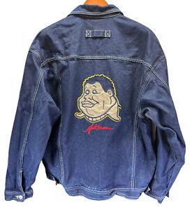 Vtg Platinum Fubu Fat Albert Men's Embroidered Dark Denim Jacket Sz Large