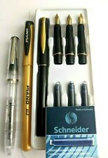 BEGINNERS CALLIGRAPHY FOUNTAIN PEN SET-7 GENUINE GOLD PLATED NIBS & 6 CARTRIDGES