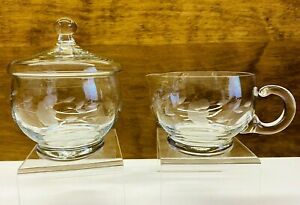 Vintage Princess House Heritage Etched Crystal Creamer And Sugar Bowl Set