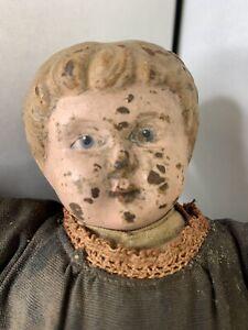 "Vintage 1910s Metal Head Minerva 2 Germany Cloth Body Girl? Boy? Doll 12"" Tall"