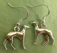 Greyhound or Whippet Dog Earrings - Pewter with Sterling Silver Ear Wires
