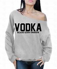 VODKA Black Logo Off the shoulder oversized slouchy sweater sweatshirt