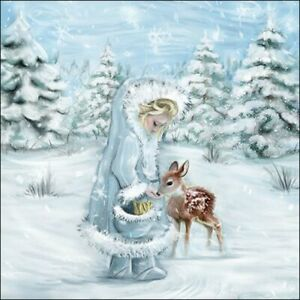 4 x Single Paper Table Napkin/Decoupage/Christmas/Little Girl Feeding Deer