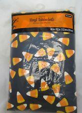 Halloween Autumn Fall Vinyl Black Tablecloth w/ Candy Corn Party Home Decor