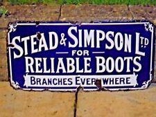 """1920s Original Vintage ENAMEL """"STEAD & SIMPSON""""  SIGN   Reliable Boots"""