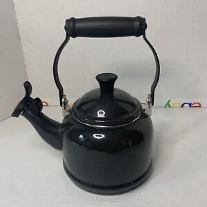 Le Creuset Black Enamel On Steel  1.25 Quart Whistling Tea Kettle