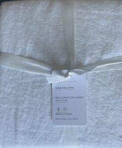 Pottery Barn Belgian Flax Linen King Duvet NO SHAMS In White