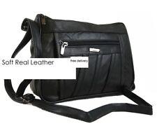 Ladies Nappa Leather Organizer Handbag  1968 Black Shoulder Bag