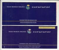 SAUDI ARABIA AIRLINES LOT OF 2 PASSENGER TICKET AND BAGGAGE CHECK