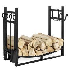 Firewood Storage Rack Log Holder Fireplace Set Shovel Brush Grabber Poker