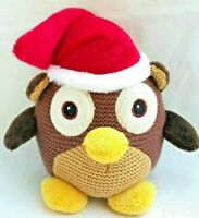 Brown Owl Christmas Santa Hat Soft Plush Stuffed Animal Bird Toy 20CM Tall
