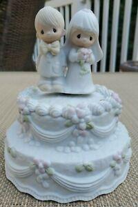 Precious Moments Wedding Cake Topper Music Box 1981 Enesco The Wedding March