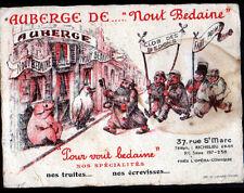 """PARIS II° / RESTAURANT-AUBERGE """"NOUT BEDAINE"""" illustré COCHON"""
