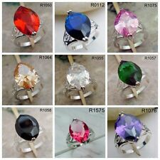 Topaz Garnet Emerald Tourmaline Sapphire Gemstone Men/Women Ring Party S111