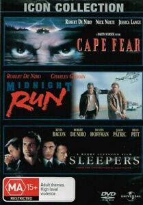 Cape Fear, Midnight Run, Sleepers DVD (3 Disc Set, Pal) Free Post