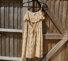 Monsoon Vintage Style Peach Floral Strappy Summer / Beach Dress - Size 12 VGC
