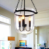 Candle Style 3 Lights Clear Glass Bell Shade Black Metal Ceiling Pendant Light