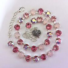 Cup Chain Necklace  Made With Genuine Swarovski Crystal  Rose/Light Rose