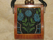 RARE HAND MADE BEADWORK FLORAL AND TORTOISE SHELL PURSE EARLY 1930'S.
