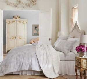 NWT Simply Shabby Chic 2 Pc TWIN Comforter Sham Set Blue Gray Damask Floral