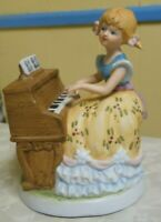 Beautiful Vintage Lefton China Hand Painted Music Box Girl Playing Piano #02269